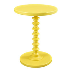 Powell Furniture - Spindle Table in Yellow Finish - Round edges and classic style. Perfect for adding a pop of color to any room. Round edges. Sturdy, strong and durable. Bright, smooth finish and a trendy and stack designed base. Made from MDF with a solid wood post. Minimal assembly required. 17 in. Dia. x 22 in. H (19 lbs.)Sized perfectly to sit next to your favorite chair or bedside, the table provides enough space for a lamp or to accommodate household items.
