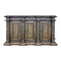 Koenig Collection - Mediterranean Old World Sideboard, Olive Green Distressed - Mediterranean Old World Sideboard