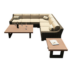 Forever Patio - Bayside 6 Piece Modern Outdoor Sectional Set, Spectrum Mushroom Cushions - The 6 Piece Bayside Sectional Set (SKU FP-BAY-6SEC-SW-SM) combines large Seat with a low profile to create outdoor seating that is as comfortable and stylish. The set seats 5 adults comfortably, and includes 2 armed sectional loveseats, 1 sectional middle, 1 sectional corner, an end table and a coffee table with a Durawood top. The Stone Wood wicker is made from High-Density Polyethylene (HDPE), giving it variegated tones and tremendous durability. Each strand of wicker is infused with UV-inhibitors that prevent cracking, chipping and fading ordinarily caused by sunlight. Every piece is constructed with thick-gauged, powder-coated aluminum frames that make the set extremely durable and corrosion resistant. Also included with the set are cushions covered in fade- and mildew-resistant Sunbrella fabric. Each seat includes durable throw pillows, adding the perfect decorative touch.
