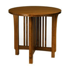 A.A. Laun Furniture - Arts and Crafts Round Lamp Table (Golden Oak) - Finish: Golden Oak. Pictured in Mission stain color. Mission style. Solid oak top and legs. Carefully selected oak veneer sides. Traditional quality craftsmanship. Made in USA. Made from solid red oak. 30 in. Dia. x 27 in. HEach piece has an authentic quarter sawn appearance. Doors are assembled with dovetailed key joinery with reversible inserts in matching oak veneer or contrasting black panels. Drawers are solid wood English dovetailed drawer boxes with Mission style hardware. The Arts and Crafts collection emphasizes the beauty of the quarter sawn oak grain.