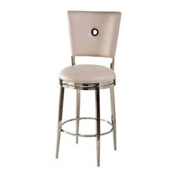 Hillsdale Furniture - Hillsdale Montbrook Swivel Stool with Ivory PU in Shiny Nickel - 26 Inch - Contemporary style and sleek design make the Montbrook Stool a favorite for modern tastes. Constructed of metal with a shiny nickel finish the Montbrook features a rectangular back with keyhole detailing. The 360-degree swivel stool is available with either a black or ivory PU cushions as well as in bar and counter heights. Some assembly required.