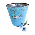 """Sap Bucket - Vermont sap buckets were hung on the maple trees for sugaring.This one is hand painted with soft pale pink flowers on a beautiful blue bucket. The artist no longer paints on these vintage buckets so they are truely special.The conditon is very good...Measurments: 8""""6 x 9""""6"""