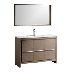 "Fresca - Allier 48 in. Bathroom Vanity w Mirror (Bever - Choose Included Faucet: Bevera ChromeP-trap, Faucet, Pop-Up Drain and Installation Hardware Included. Single Hole Faucet Mount (Faucet Shown In Picture May No Longer Be Available So Please Check Compatible Faucet List). With overflow. Sink Color: White. Finish: Gray Oak. Sink Dimensions: 20 in. x11 in. x5 in. . Mirror: 47.25 in. W x 25.5 in. H x 6 in. D. Materials: Plywood w/ Veneer, Ceramic Countertop/Sink with Overflow. Vanity: 47.25 in. W x 18 in. D x 33.5 in. HThe Fresca 48"" Allier is a sleek, modern free standing vanity with plenty of storage space. This model is accented nicely with a matching mirror with small shelf. Optional side cabinets are available."