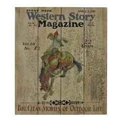 Sterling Industries - Sterling Industries 26-8685 Western Story-Western Story Magazine Hand Painted - Wall Panel (1)