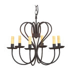 Irvin's Tinware - Large Georgetown Chandelier in Textured Black - With the graceful and decorative sweep of its arms, our Georgetown Chandelier introduces a clean and simple design that works with almost any decor whether it be traditional or modern. This easy to maintain fixture simulates the welcome glow that has greeted family and friends for ages.