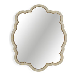 French Country Collection - Drawing references from the classic keyhole and scrolled bohemian mirror, this beauty adds a feminine touch that pushes the look firmly into contemporary style. Transitional in the best way, this beauty crafted in inlaid horn and glass just begs for a great bathroom, glamorous dressing table, or sun filled bedroom to shine.