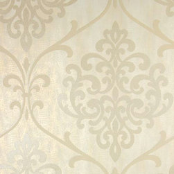 Brewster Home Fashions - Ambrosia Champagne Glitter Damask Wallpaper Bolt - A romantic sparkling wine palette is infused with a seductive splash of glitter and pearls. This dramatic damask medallion wallpaper is layered of a chic abstract animal print mixing tribal influences with modern classics.