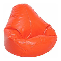 Elite Products - Wetlook 34 in. Adult Bean Bag w Zipper - This adult sized wetlook bean bag in blaze orange adds extra seating to any room!  Recommended for people of all ages, this easily refillable bean bag is constructed of durable polyester/cotton fabric. Long lasting and durable. Double stitched with double overlap folded seam. Double zippered bottom for added security. Childproof safety lock zippers (pulls have been removed). Can easily be refilled by an Adult. Light, convenient to move and store. Easy to Clean. Recommended seating for all ages. Warranty: One year limited. Made from PVC vinyl and polystyrene bead. Made in USA. No assembly required. 33 in. L x 32 in. W x 33 in. H (8 lbs.)