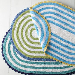 Tybee Stripe Cotton Bath Rug - Whimsical and cheery, this bath rug would suit a cottage-style space to a tee.