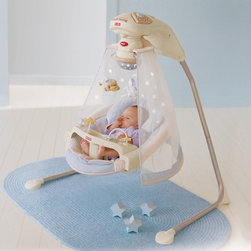 Fisher-Price - Fisher-Price Starlight Cradle Baby Swing Multicolor - K7924 - Shop for Baby Swings from Hayneedle.com! It may not be time for your little one to go camping under the stars but the Fisher-Price Starlight Cradle Swing can introduce him to the wonders of the universe. While comfortably cradled in the cozy papasan seat with head support cushion your baby can swing either side-to-side or front-to-back depending on his changing preferences. Your wide awake infant will enjoy watching the spinning mobile playing with the bead bar on the removable tray and listening to the daytime sounds of birds chirping a brook babbling and eight happy songs playing. When it's naptime Mom can switch on the magical starry night light show that projects onto the sheer canopy. Now the nighttime sounds of crickets bullfrogs and eight more calming songs will fill baby's outdoor dreams. Additional Features for Baby: Watching starlight show and motion of moving stars on the mobile fosters visual tracking skills Canopy surrounds baby and sways along with the swing Comfy cradle seat with head support provides baby with a sense of security Daytime and nighttime songs and sound effects with volume control strengthen baby's auditory skills and provide needed variety so Mom doesn't go crazy Alternating swinging motions calm your baby even as his mood changes Additional Features for Mom and Dad: Sturdy steel frame folds for storage and portability Removable papasan seat pad is machine-washable 6 speeds and 2-position reclining seat for comfort as baby develops Customize baby's experience by choosing starlight on or off music only swinging only mobile only or any combination Quick-release power cord saves on batteries; requires 4 D batteries (not included) Weight capacity: 25 lbs. Developmental Guidelines: Use cradle swing from birth until a child becomes active and can climb out of the seat. Recommended ages: Birth-12 months. About Fisher-PriceAs the most trusted name in quality toys Fisher-Price has been helping to make childhood special for generations of kids. While they're still loved for their classics their employees' talent energy and ideas have helped them keep pace with the interests and needs of today's families. Now they add innovative learning toys toys based on popular preschool characters award-winning baby gear and numerous licensed children's products to the list of Fisher-Price favorites.