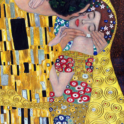 """overstockArt.com - Klimt - The Kiss (Luxury Line) - 24"""" X 36"""" Oil Painting On Canvas This painting is part of our """"Luxury Line"""". It is made of the same hand painted oils on canvas, with the addition of beautifully hand embellished gold and silver accents. Exclusive only to our highest quality reproductions. Hand painted oil reproduction of a famous Klimt painting, The Kiss . The original masterpiece was created in 1907-08. Today it has been carefully recreated detail-by-detail, color-by-color to near perfection. Gustav Klimt, the Vienna master painted the Kiss oil painting in 1907. The painting depicts a couple surrounded by a gold blanket and ornaments sharing a moment of shear passion - the perfect kiss. In the oil and gold masterpiece, the man appears standing as he holds in his arms the kneeling woman. The two seem to be positioned on a flower field, kissing, totally engaged with one another. The woman seems to be following the lead of her partner, but is not taking an active part. The patterns of the man are mostly black and white rectangles, while the woman is engulfed in flowers. The identity of the people depicted in this oil painting is not exactly clear; some suggest that it is Klimt himself and his beloved partner, Emilie Floge. However, that is sheer speculation as Klimt made it a point never to paint himself. Gustav Klimt (1862-1918) was one of the most innovative and controversial artists of the early twentieth century. Influenced by European avant-garde movements represented in the annual Secession exhibitions, Klimt's mature style combines richly decorative surface patterning with complex symbolism and allegory, often with overtly erotic content. This work of art has the same emotions and beauty as the original. Why not grace your home with this reproduced masterpiece? It is sure to bring many admirers!"""