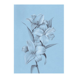 Lilies on Sky Blue Paper Print, 11.5x14.5 - Beautiful giclée prints on bright white archival paper for those lighter colored rooms.