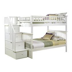 Atlantic Furniture - Atlantic Furniture Columbia Staircase Bunk Bed Full Over Full in White - Atlantic Furniture - Bunk Beds - AB55802