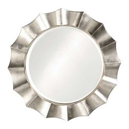 Howard Elliott Corona Silver Round Mirror - Our Corona Mirror is a round mirror bordered by a rippling wave design created in a resin frame. The piece is then finished with a silver leaf giving the mirror its bold contemporary appeal.