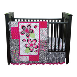 Trend Lab - Trend Lab Zahara - 3-Piece Crib Bedding Set - The Zahara 3 Piece Crib Bedding Set by Trend Lab brilliantly mixes fashion-forward black and white with bright pops of paradise pink and electric lime. Luxurious paradise pink rosette velour is mixed with a trend-right zebra print cute confetti dots and amped up black and white stripes with floral accents. Ladybugs and flowers bring whimsy to the nursery for your little diva! Matching Zahara Crib Bumpers sold separately. Complete your child's room with coordinating accessories from the Zahara collection by Trend Lab.