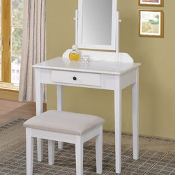 "Acme Furniture - Jamy Vanity Set in White - Jamy Vanity Set in White; Finish: White; Weight: 37 lbs; Dimensions: Vanity: 28"" x 16"" x 51""H, Stool: 18"" x 14"" x 17""H"