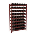 54 Bottle Stackable Wine Rack in Redwood with Cherry Stain - Three times the capacity at a fraction of the price for the 18 Bottle Stackable. Wooden dowels enable easy expansion for the most novice of DIY hobbyists. Stack them as high as you like or use them on a counter. Just because we bundle them doesn't mean you have to as well!
