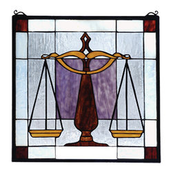 """Meyda - 18""""W X 18""""H Judicial Stained Glass Window - Balance the scales with this law window. Burgundy,gold and royal purple stained art glass, on acrystalline background, will delight your lawyer, lawfirm, judge, or legal professional. Framed in solidbrass, this meyda tiffany original stained glass windowhas brass mounting bracket and chains included. Createdwith 78 pieces of hand cut glass it is the perfectprescription. Attorneys and members of the court, bringus justice."""