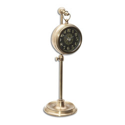 "Uttermost - Uttermost Pocket Watch Brass Woodburn X-96060 - Brass pocket watch replica that hangs on an adjustable telescopic stand. Requires 1-AA battery. Stand adjusts from 8"" to 12 1/2"" in height."