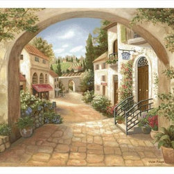 Manual - Quaint Town Woven Tapestry Wall Hanging 70 Inch x 50 Inch - This woven tapestry wall hanging measures 70 inches wide, 50 inches long, and depicts the entrance to an old Italian village. It makes a great gift.