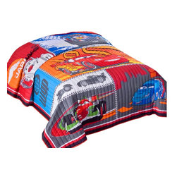Pem America - Disney Cars 2 Twin Quilt - Go back to the fun with all your friends. This time you are racing around the world!Twin quilt measures 68 x 86 inches and features applique and embroidery. Face cloth is 60% cotton / 40% polyester. Fill is 100% polyester. Machine washable. Made in China.