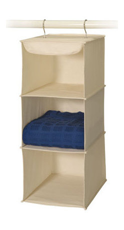 Richards Homewares - 3 Shelf Sweater Organizer - Our sturdy canvas collection is the right choice for any closet; Canvas material is forgiving on all materials, from leather to fur to nylon to cotton or polyester. Canvas breathes freely, so as to reduce stale smells that forever linger in a closet. And the color of natural canvas will complement any closet or bedroom with neutral earth-tone colors. This organizer hangs from the clothing rod, fastened securely by dependable Velcro. Ideal for sweaters, jeans, shirts, hats, handbags, etc. Features 3 large compartments; Each shelf has reinforced fiberboard liner to retain shape over long periods of use.
