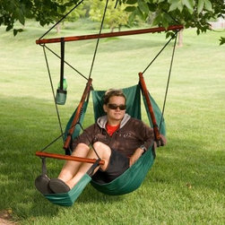 The Ultimate Hanging Air Chair - Set of 2 - An Air Chair at a Great Value! Available in several color options Ergonomic air chair design for superior comfort Spreader bar width is 43.75 inches Experience for yourself the incredible relaxation of the Hanging Air Chair. This chair offers a high level of comfort in addition to being ergonomically correct for total body support. Its superior construction and design features heavy-duty stitching, varnished hardwood spreader bars, and durable fabric that lasts a lifetime. Enjoy these features: High-quality nylon fabric in three color options Footrest and hanging hardware included Heavy-duty stitching Hanging length from ceiling to chair bottom: 66.3 inches Length from bar to chair bottom: 44.5 inches The footrest rope connects to the top of the upside-down v formation that the entire chair hangs from. The footrest dowel is 19.5 inches. Only the main rope that determines the hanging height of the chair is adjustable. Order this uniquely comfortable, durable outdoor hanging chair and relax like never before.