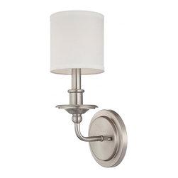 Joshua Marshal - One Light White Shade Polished Nickel Wall Light - One Light White Shade Polished Nickel Wall Light