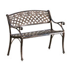 Great Deal Furniture - Casablanca Outdoor Copper Cast Aluminum Bench - The Casablanca bench is a beautiful addition for your outdoor decor. Made from cast aluminum, the bench features meshed pattern throughout and intricate details on the crown of the chair backrest. The antique copper finish is neutral to match any outdoor furniture and will hold up in any weather condition. Whether in your backyard, patio, deck or garden, you'll enjoy this piece for years to come.