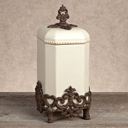 GG Collection Provencal Canister with Metal Base - Cream - Inspired by the historical splendor of southern France, the Gerson GG Collection Gracious Goods Provencal Canister with Metal Base – Cream is an elegant storage piece designed for kitchens, but suitable for any room. Available in your choice of sizes, this wonderful piece features a canister and lid of cream-colored ceramic, and a brown cast aluminum base and finial lid top that pay decorative homage to traditional French scrollwork.