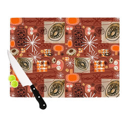 "Kess InHouse - Jane Smith ""Vintage Kitchen"" Brown Orange Cutting Board (11.5"" x 15.75"") - These sturdy tempered glass cutting boards will make everything you chop look like a Dutch painting. Perfect the art of cooking with your KESS InHouse unique art cutting board. Go for patterns or painted, either way this non-skid, dishwasher safe cutting board is perfect for preparing any artistic dinner or serving. Cut, chop, serve or frame, all of these unique cutting boards are gorgeous."
