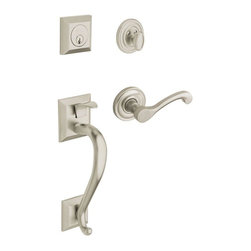 Baldwin Hardware - Estate Collection Madison SC LH Handleset with Wave Lever in Satin Nickel - Baldwin Estate Collection Madison Single Cylinder Satin Nickel Left-Handed Handleset with Wave Lever features a crisp, clean satin nickel finish. This handleset is made from forged brass for durability and includes hardware for convenient installation.