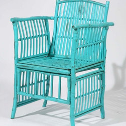 Side Chair by Kenian - If you like the shape of bamboo, but get bored of the color — no problem. Painted bamboo abounded at this year's market. Springy colors such as teal, orange and yellow, and even sophisticated metallics make bamboo work, even if you're far from the seashore.