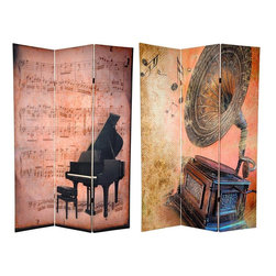 Oriental Furniture - 6 ft. Tall Double Sided Music Room Divider - Piano/Phonograph - On both the front and back, the images on this floor screen are a combination of photography and artistry, unique, appealing collage art with the charm of music at the end of the 19th, or beginning of the 20th century. The front is aged sheet music with a super imposed baby grand piano; the back, a wonderful, beautifully crafted Victrola, with visible notes coming from the speaker.