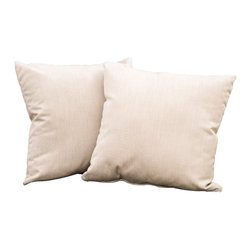 """Great Deal Furniture - Samara Beige 17"""" Outdoor Accent Pillow (Set of 2), Beige - Accessorize your home with these Samara beige pillows. Upholstered in Sunbrella woven fabric, a durable weather resistant material, these chic accent pillows are a great option to add flare and comfort to your home. Use them indoors or to accessorize your outdoor seating set."""
