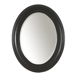 Carolina Cottage - Oval Mirror w Beveled Glass in Antique Black - Beautiful 3 step hand finish with rubbed edges for a worn unique look. Beautiful beveled glass. No assembly required. 25 in. W x 2 in. D x 32 in. H (15 lbs.)The frame of this classically designed oval mirror is hand-crafted from solid wood. The Antique Black finish and versatile style makes it a wonderful complement to any room.