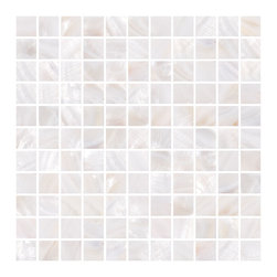 "Susan Jablon Mosaics - Ivory White Mother Of Pearl Tile - This selection is made up of 1"" hand cut mother pf pearl shell in white with peach shell tones. This elegant and sophisticated mother of pearl touch will work with any counter top you have chosen. Enjoy these gorgeous mother of pearl shell tiles on your kitchen backsplash.Bring the elegance and fine beauty of one of natures most spectacular gifts into your daily life. Our shell tile is a perfect solution for a sturdy, natural, jaw dropping effect without going over the top. Let mother nature dazzle you! Please note that the images shown are actual photographs of the tiles however, colors may vary due to the calibration of each individual monitor. Ordering samples of the tiles to verify color is strongly recommended."