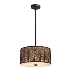 Elk Lighting - Elk Lighting 31074/3 Woodland Sunrise 3-Light Pendant in Aged Bronze - 3-Light Pendant in Aged Bronze belongs to Woodland Sunrise Collection by Etched Into Stainless Steel, A Serene Tree-Lined Meadow Is Revealed With Intricate Branch Detailing. An Aged Bronze Finish With An Amber Diffuser Maximizes The Realism Of The Setting. Pendant (1)