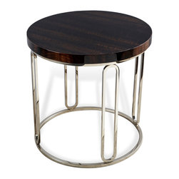 Kathy Kuo Home - Barcelona Polished Eucalyptus Wood Round Silver Side Table - Sleek and simple, the modern silhouette and rich grain of eucalyptus wood found on the surface of this contemporary end table make this a piece an instant classic.