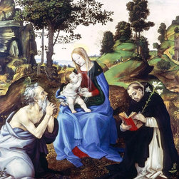 """Filippino Lippi Holy Family - 16"""" x 20"""" Premium Archival Print - 16"""" x 20"""" Filippino Lippi Holy Family premium archival print reproduced to meet museum quality standards. Our museum quality archival prints are produced using high-precision print technology for a more accurate reproduction printed on high quality, heavyweight matte presentation paper with fade-resistant, archival inks. Our progressive business model allows us to offer works of art to you at the best wholesale pricing, significantly less than art gallery prices, affordable to all. This line of artwork is produced with extra white border space (if you choose to have it framed, for your framer to work with to frame properly or utilize a larger mat and/or frame).  We present a comprehensive collection of exceptional art reproductions byFilippino Lippi."""