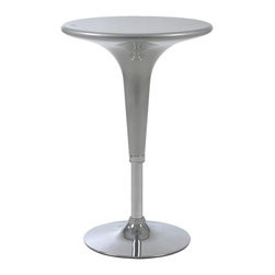Eurø Style - Clyde Adjustable Bar Table in Silver and Chrome - Using a very small amount of space, the Clyde Adjustable Bar Table in Silver and Chrome - Eurø Style creates a stylish and comfortable seating area in your bar space! Molded ABS plastic top in silver color accentuates a shining chrome base.