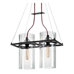 SONNEMAN Lighting - Square Ring Linear Suspension by SONNEMAN Lighting - Scientifically styled, the Sonneman Square Ring Linear Suspension offers an embellished industrial look. Clear cylinders are set into a Satin Black metal frame, each wired to the canopy with Dark Red cord. The laboratory-like impression is enhanced with the use of test tube-shaped, antique reproduction bulbs for an experiment in modern-vintage design. SONNEMAN - A Way of Light is the namesake of founder and lighting designer Robert Sonneman. It was formed to create contemporary lighting that best exemplifies today's cosmopolitan American style. Sonneman Lighting fixtures are elegant and refined, decidedly modern yet clearly influenced by classic 20th century period styles.