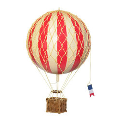 Authentic Models - Authentic Models AP168R Jules Verne Balloon - Red - Iconic and inspiring helium filled balloons were one of aviation's first successes. Since 1783, balloons have traveled the skies. Our largest model to date comes complete with a rattan basket hanging from hand-knotted netting and wood toggles. The large balloon carries sand bags at the ready for release as ballast.