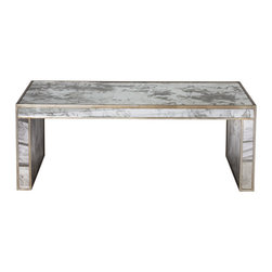 Worlds Away Parsons Antique Mirror Coffee Table - Antique mirror coffee table with silver leaf
