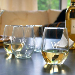 Home Decorators Collection - Monogram Stemless Wine Glasses - Set of 4 - These stemless wine glasses will make an excellent addition to your barware or your collection of drinkware. As an addition to your tabletop decor they are a wonderful choice, and each glass may be engraved with a single, block initial. Hand-blown glass may contain small bubbles. Makes a thoughtful gift for the holidays, a wedding or even a house-warming.