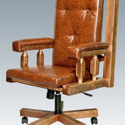 Montana Woodworks - 27 in. Upholstered Office Chair - Handcrafted. Rustic timber frame design. Heirloom quality. Swivel. An adjustable base for comfort and ease of use. Padded seat, back and arms. Roller casters. Made from solid U.S. grown wood. Stained and lacquered finish. Made in USA. Assembly required. 27 in. W x 24 in. D x 48 in. H (62 lbs.). Warranty. Use and Care InstructionsThe perfect chair to accompany the perfect desk!