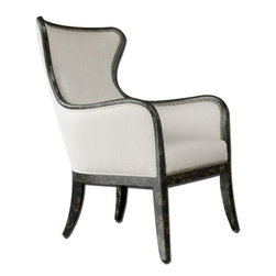 Uttermost - Uttermost Sandy Wing Back Armchair - Shimmery, sandy white woven tailoring features teflon(r) fabric protector and brass nail accents. exposed wood frame is solid white mahogany with reinforced joinery and hand applied, weathered black finish. matching loveseat is item #23074.