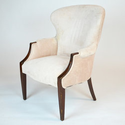 Newly Upholstered Pale Pink Hardwood Club Chair - Dimensions:L 28''  × W 30''  × H 37''
