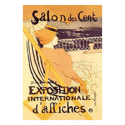 "Buyenlarge.com, Inc. - Salon Des Cent: Exposition Internationale D'Affiches - Paper Poster 20"" x 30"" - Henri de Toulouse-Lautrec (1864 - 1901) was a French painter, printmaker, draftsman, and illustrator. The period he created his art was known as the Belle poque and his focus was on the decadence in Parisian society. In the summer of 1895 Lautrec embarked on a voyage from Le Havre to Bordeaux with Maurice Guibert, on the steamer 'Le Chili' During the voyage he discovered a young woman, one of his fellow passengers, in cabin No.54, who was on her way to join her husband, a colonial official in Senegal. He was so fascinated by her beauty that, despite protests from Guilbert, he determined to stay on board when the ship reached Bordeaux and continue south with the vessel. It was not until they reached Lisbon that his friend succeeded in getting Lautrec - who was determined to carry on as far as Dakar - off the ship. Guibert then took the artist via Madrid and Toledo to the spa of Taussat, and the trip ended in late summer near Bordeaux, at the Chateau de Malrome, the main residence of Lautre's mother."" ""Lautrec kept a photograph of the unknown woman, lost in reverie on deck, in a pose much like this. He was a master at catching the sort of uninvited glimpse into an anonymous and private world depicted here"