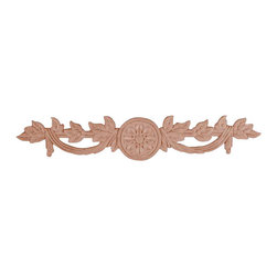 """3203 Wood Applique 10"""" x 1-7/8"""" - Decorative wood onlays and appliques, are decorative ornaments useful for bringing visual interest to flat areas. Embossed wood onlays and appliques are often used to decorate fireplace mantels, stove or range hoods and cabinetry headers."""